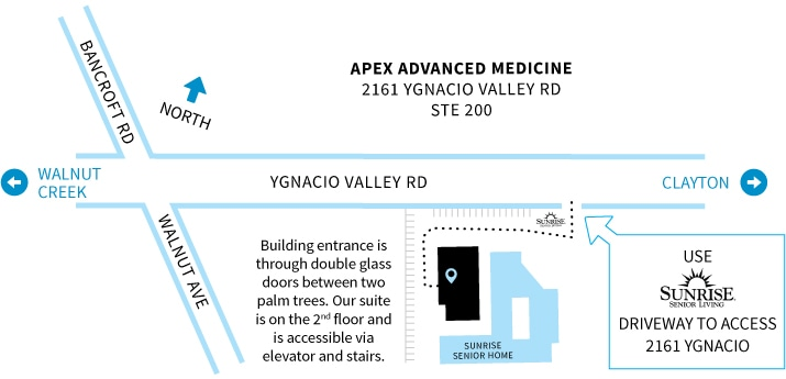 Map to Apex Advanced Medicine office
