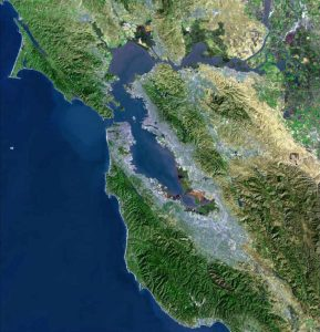 Aerial photo of Bay Area California including Belvedere, CA