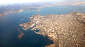 Aerial view of Richmond, CA circa 2015